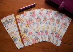 Filofax Personal Size Dividers & Page Markers -  Flowers  #638