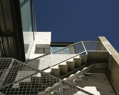 Awesome Modern Flat House Design with Neutral Color : Contemporary Ocean Front Walk Exterior Design With Outdoor Stairs