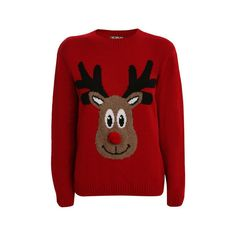 Pilot Jade Reindeer Pompom Nose Christmas Jumper ($30) ❤ liked on Polyvore featuring tops, sweaters, jumpers, christmas, knitwear, red, textured sweater, christmas tops, crewneck sweater and christmas sweater