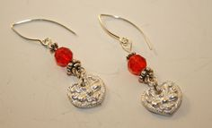 Silver (fine) Embossed Hearts and Red Crystals Earrings  shop.bitsofclay.com