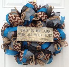 Turquoise Burlap Wreath - Deco Mesh Wreath - Chevron Burlap Wreath -Trust in the Lord -Rustic Wreath - Year Round Wreath - Burlap Door Decor...$67.00