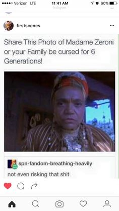 """Don't want to end up like a Winchester. according to some theories the reason why they have such bad luck is because the broke A LOT of mirrors in the first season, so yeah don't want to have a """"cursed family."""""""