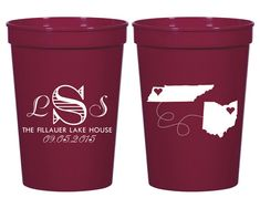 Personalized Plastic Party Cups! Wedding Cups! Monogrammed Cups! Customized Plastic Cups! Send your guests home with a favor they will use for years