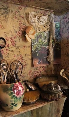 Floral Heaven - that wallpaper or fabric is killing me!  Especially that bird....wow
