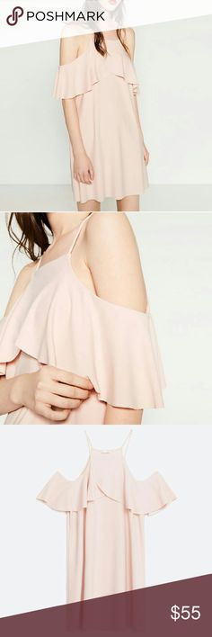 Light pink cutout dress with frill On trend off shoulder feature Zara Dresses Mini
