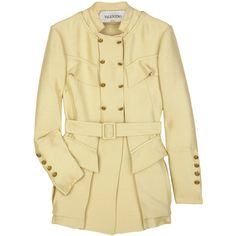 Silk-faille belted jacket ($691) ❤ liked on Polyvore featuring outerwear, jackets, coats, tops, casacos, flap jacket, embellished jacket, beige jacket, high neck jacket and valentino jacket
