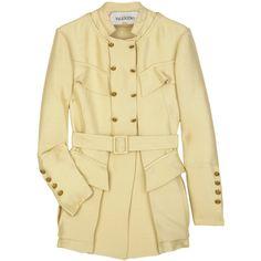 Silk-faille belted jacket ($691) ❤ liked on Polyvore featuring outerwear, jackets, coats, tops, casacos, flap jacket, embellished jacket, beige jacket, high neck jacket and valentino jacket