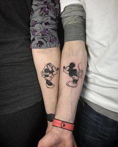 Minnie and mickey couple goals. mickey and minnie tattoos, matching disney tattoos, disney Mickey Tattoo, Mickey And Minnie Tattoos, Matching Disney Tattoos, Disney Couple Tattoos, Best Couple Tattoos, Disney Couples, Him And Her Tattoos, Tattoos For Guys, Unique Tattoos
