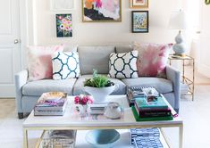 mintwood home, living room, washington dc, apartment, bachelorette pad, grey, pink, navy, art wall