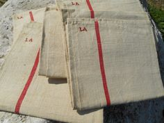 1900's Large Thick Linen French Kitchen Towel by SophieLadyDeParis