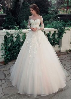 Buy discount Glamorous Tulle & Satin Bateau Neckline A-Line Wedding Dresses With Lace Appliques at Dressilyme.com