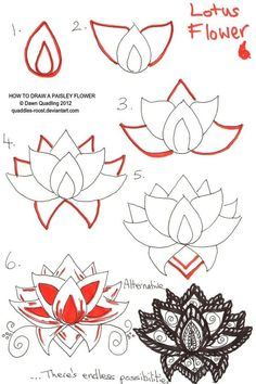 50 New Ideas drawing step by step for beginners henna designs zentangle patterns Doodles Zentangles, Tangle Doodle, Doodle Drawings, Doodle Art, Zen Doodle, Paisley Flower, Lotus Flower Art, Lotus Flower Paintings, Lotus Art