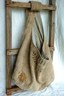 Sac chanvre, lin, textile ancien, brocante