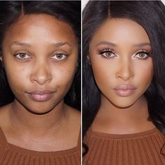 Before and after @officialphoenixskye Foundation @kevynaucoin sensual skin enhancer in shade 12to highlight I used shade 10 contour a tiny bit of 14  :)  Glam  Studio