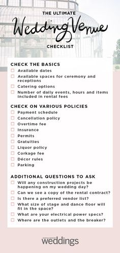 list of every question you need to ask the manager of any wedding venue you may be considering for your wedding day Martha Stewart Weddings Wedding Venue Checklist Wedding Ceremony Ideas, Wedding Tips, Wedding Venues, Wedding Hacks, Wedding Week, Cute Wedding Ideas, Wedding Blog, Martha Stewart Weddings, Wedding Venue Questions
