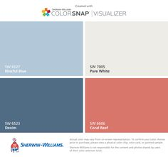 I found these colors with ColorSnap® Visualizer for iPhone by Sherwin-Williams: Sea Salt (SW Oyster Bay (SW Greek Villa (SW Accessible Beige (SW