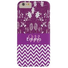 Monogrammed purple chevron zigzag flowers glitter barely there iPhone 6 plus case - flowers floral flower design unique style