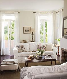 white Ektorp sofa by Ikea Country Cottage Living Room, Living Room Sofa, Apartment Living, Living Spaces, Living Area, Ikea Sofa, Living Room Inspiration, My New Room, Home And Living