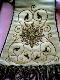 ANTIQUE FRENCH RELIGIOUS MANIPULE SILK AND METALLIC EMBROIDERY