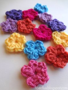 Fiber Flux...Adventures in Stitching: Free Crochet Pattern...One Round Flowers