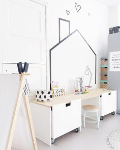 20 Fantastic Kids Playroom Design Ideas – My Life Spot Washi Tape Wall, Masking Tape, Ikea Stuva, Deco Kids, Kid Desk, Toddler Rooms, Kids Room Design, Kids Corner, Kids Decor