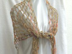 Crochet mesh summer shawl scarf in earthy pastels by ScarfShack, $22.00