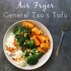 Crispy air fryer tofu & homemade refined-sugar-free General Tso's sauce. SO good, y'all!  #ad #vegan