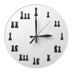Design wall clock with all black chess pieces representing the hours by the relative value of the pieces. The value was defined by the accepted system of Math Clock, Clock Art, Diy Clock, Kids Room Design, Wall Design, Tiny House Bedroom, Wooden Pallet Projects, Cool Clocks, Digital Clocks
