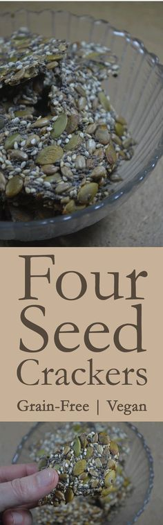 Delicious four-seed crackers. Gluten-free, grain-free, low-carb, dairy-free, Paleo and vegan!