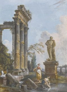 JEAN-BAPTISTE LALLEMAND (DIJON 1716 - 1803 (?) PARIS) A ROMAN CAPRICCIOS WITH ANCIENT RUINS: A VIEW OF A RUINED TEMPLE WITH WASHERWOMEN Gouache; signed, very faintly, on top of the frieze fragment, lower centre: lalle....(?) 28 x 20 cm;