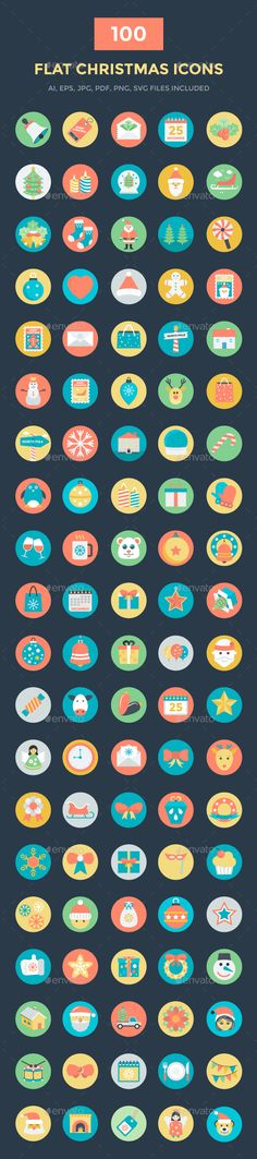 100 Flat Christmas Vector Icons. Download here: https://graphicriver.net/item/100-flat-christmas-vector-icons/17097770?ref=ksioks