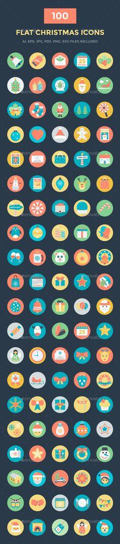 100 Flat Christmas Vector Icons. Download here: https://graphicriver.net/item/100-flat-christmas-vector-icons/17097770?ref=ksioks