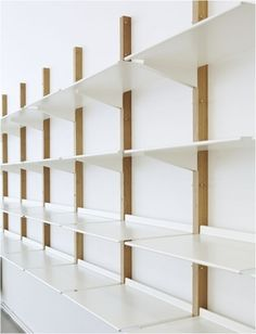 Floor Designs Ideas: Revolver I love the simplicity of Revolver – a display and storage system based on a reversible shelf design. Revolver is made by the London based design studio Henny van Nistelrooy. Van Nistelrooy, 1979 – The Netherlands, founded his Design Shop, Shop Front Design, Shop Interior Design, Store Design, Shelving Systems, Wall Shelves Design, Display Shelves, Shelving Ideas, Glass Shelves