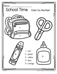 School Time Color by Number Printables - 3 pages by KidSparkz Pre K Schools, Printable Numbers, School Themes, 3 Kids, Door Signs, Preschool Crafts, Teacher Resources, Printables, Color