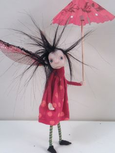 ooak poseable RED dot mushroom PIXIE FAIRY  5  by DinkyDarlings