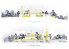 """""""This is not a park"""" Architecture Graphics, Architecture Drawings, Landscape Architecture, Landscape Design, Architectural Section, Architecture Visualization, Presentation Design, Ecology, Facade"""