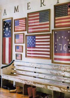 Americana / patriotic / summer/ Memorial Day / of July decorating with the American flag Chalet Ski, Framed American Flag, Living Colors, Vintage Flag, Vintage Stuff, Vintage Rings, Vintage Photos, Vintage Bench, Vintage Cabin