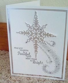 Christmas Card Kit--Stampin' Up!/ Papertrey-4 cards/env-starlight white/silver #StampinUp