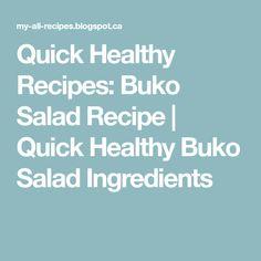 Quick Healthy Recipes: Buko Salad Recipe | Quick Healthy Buko Salad Ingredients
