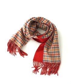 Johnstons カシミアチェックマフラー(CAMEL CHECK WITH RED) http://floraison.shop-pro.jp/?pid=84081604