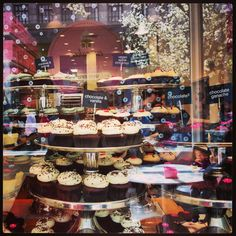 YUM! Georgetown Cupcakes for Easter. Front Counter Display at Georgetown Cupcake Newbury, 83 Newbury Street, Boston