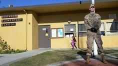 Marine veteran guards school Modesto California