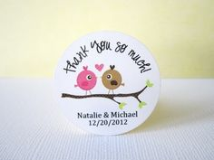 Personalized Love #Birds in Branch Label Stickers in pink and brown @adorebynat - Paper/Books on ArtFire