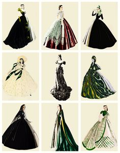 I'm a true sucker for this : Walter Plunkett's costume sketches for Vivien Leigh as 'Scarlett O'Hara' in Gone With the Wind Scarlett O'hara, Vivien Leigh, Classic Hollywood, Old Hollywood, Hollywood Fashion, North And South, Costume Design Sketch, Figurative Kunst, Hollywood Costume