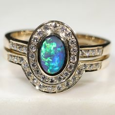 Natural Australian Solid Opal & Diamond Gold Engagement and Wedding Ring Set-  Size 7 Code- DWB4 10k Gold Ring, Diamond Wedding Rings, Gold Ring Designs, Wedding Band Sets, Diamond Sizes, Opal Jewelry, Container, Top