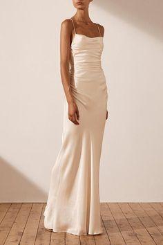 Cream Wedding Dresses, Slip Wedding Dress, Minimalist Wedding Dresses, Classy Wedding Dress, Simple Prom Dress, Cowl Neck Wedding Dress, White Simple Wedding Dress, Wedding Reception Dresses, Skinny Wedding Dress
