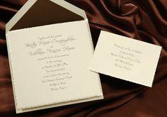 Ecru wedding invitation is bordered by a torn pearl deckled edge. Elegant traditional Wedding Invitations by Wedding Invitations-WeddingBeDazzle