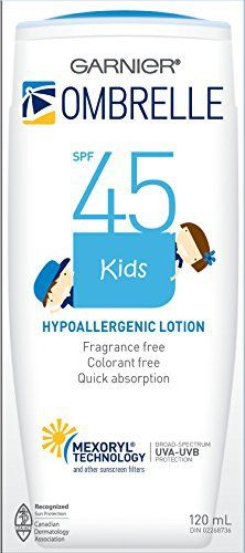 OMBRELLE KIDS ,Ombrelle Lotion SPF 45,Mexoryl Technology 120ml / 4 oz review Garnier Ombrelle Kids Sunscreen Lotion – Size – 120 ml/4 fl oz SPF 45+ – Hypoallergenic – UVA UVB Protection Water Resistant (40min) – Quick Absorption Fragrance Free – Colorant Free Many other Sunscreen Lotions and Other Beauty Products available from this...