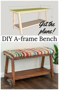 Easy DIY Bench with storage. Perfect for beginner woodworkers. Great addition to any entryway or mudroom. Quick and easy one day project. #anikasdiylife #woodworking #woodworkingplans Scrap Wood Projects, Woodworking Projects That Sell, Diy Furniture Projects, Handmade Furniture, Diy Woodworking, Diy Projects, Project Ideas, Craft Ideas, Shoe Storage Plans
