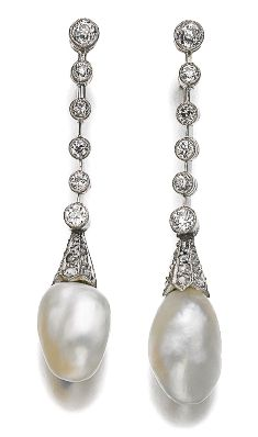Natural pearl and diamond pendent earrings, late 19th century. Drop shaped natural pearl measuring approximately 11.75 x 9.50 x 15.30mm and 11.90 x 9.95 x 12.80mm, capped with rose diamonds, suspended from a series of millegrain-set circular-cut diamonds connected by knife-edge linking, screw back fittings.